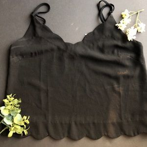 Lush XS Scalloped Black Tank w/ adjustable straps